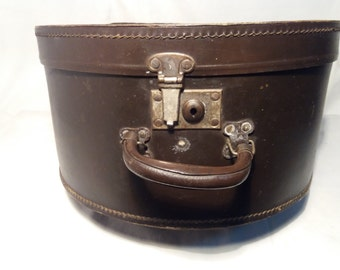 Vintage Dark Brown Hatbox