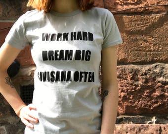 Fair-trade Yoga T-shirt Organic Tee Savasana Design Quote