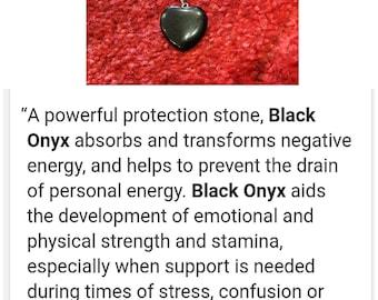 Onyx gem stone necklace healing crystal
