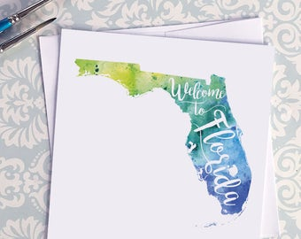 Florida Watercolor Map Greeting Card, Welcome to Florida Hand Lettered Text, Gift or Postcard, Giclée Print, Map Art, Choice of 5 Colors