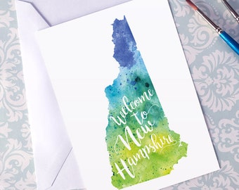 New Hampshire Watercolor Map Greeting Card, Welcome to New Hampshire Hand Lettered Text, Gift or Postcard, Giclée Print, Map Art, 5 Colors
