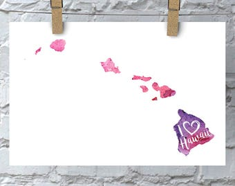 I Heart Hawaii Map Art Print, I Love Hawaii Watercolor Home Decor Map Painting, HI Giclee US State Art, Housewarming Gift, Moving Gift, Art