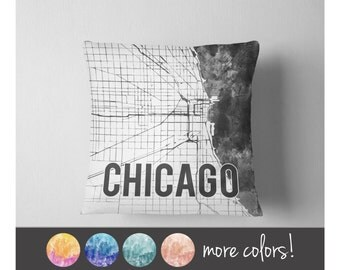 Watercolor Chicago map throw pillow