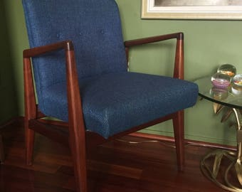 Mid Century Armchair / Mid Century Blue Upholstery Chair / Retro Blue Chair / Mid Century Furniture
