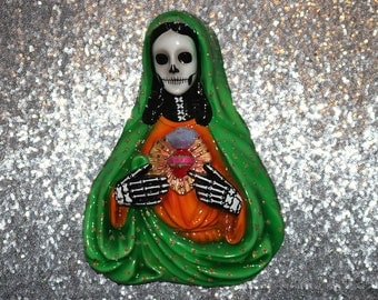 Day of the Dead Inspired Skeleton Wall Hanging Sacred Heart Mary