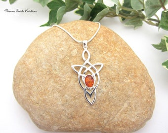 Celtic, elvish, silver and amber, precious stone necklace, celtic jewelry, elvish jewelry,amber jewelry, french hand made