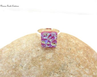 Dichroic glass jewelry, adjustable ring,french hand made,dichroic ring, square ring,unique ring,purple ring,purple jewelry,fushia ring