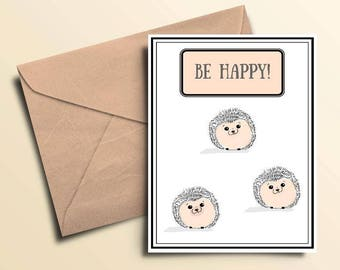 Happy Hedgehog Note Cards - Box of 10 With Envelopes