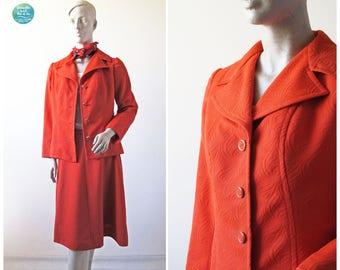 Burnt Orange Suit, 70s Skirt Suit, Vintage Two Piece Skirt Suit, Socialist Secretary Suit, A Line Skirt with Blazer, Size Small Medium