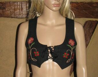 Folk TOP camisole  romantic vintage 40s VEST woolen embroidered CORSET
