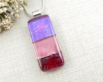 Small Purple, Pink and Red Fused Dichroic Glass Pendant - Striped Fused Glass Pendant - Rectangle Pendant - Handmade Glass Jewelry
