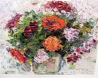 Print, Flowers in a Vase by J.Trochut Artwork Reproduction, Floral & Gardens