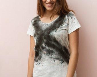 T-shirt White X with handmade design