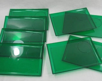 Plastic Snack Plates, Green Appetizer Plates, Rectangle Snack Plates, Hallmark Plates, Vintage Party Plates