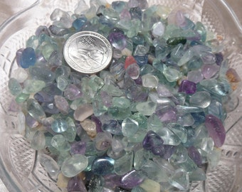 1/4 lb Fluorite Chip Stones, 6-10mm Tumbled Stones, Bulk Crystals Jewelry Supply, Craft Supply