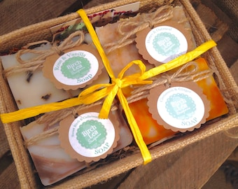Soap gift set, gift for her, jute box, natural handmade soaps, 4 soap bars, you choose the scents