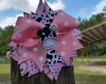 Cow headband, Farm girl Holstein cow bow, Farm birthday headband