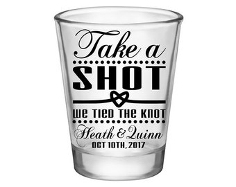 200x Personalized Shot Glasses Wedding Favors | 1.75 oz Clear | Take A Shot We Tied The Knot (1A) | Choose Imprint Color | READ DESCRIPTION