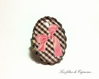 Ring Cabochon •NOEUD pink •