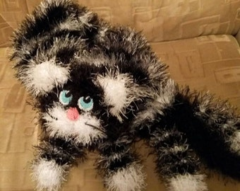 Tabby cat scarf funny Cat scarf soft scarf animal scarf knit scarf funny scarf black and white scarf  kitty scarf, fluffy scarf fuzzy scarf