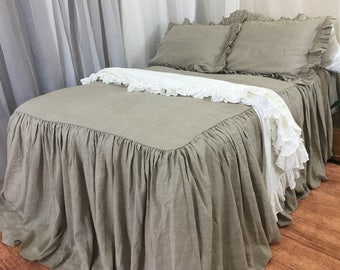 Bedspread dark linen bed cover, linen bedding, linen bed cover, shabby chic bedding, Medium Weight Linen
