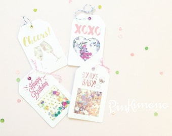 Celebration Gift Tags Set 2 - Shaker Tags - Foil - Custom - Birthday Gift Tags - Glitter - Baby Shower Gift Tags - Unique Gift Wrapping