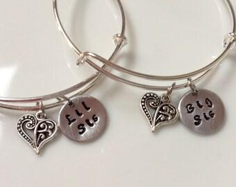 Big Sis Lil Sis Bracelet/ Sister Gift/ Bangle Bracelet/ Sorority Sister / Gift For Her/ BFF Gift/ Adjustable Bracelet/ Bridesmaid