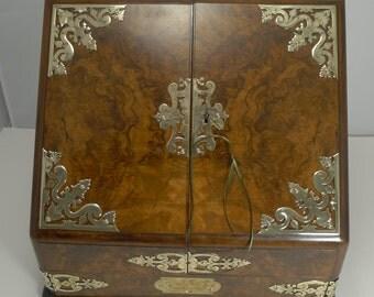 Fine Quality Antique English Brass Mounted Burr Walnut Stationery Cabinet / Writing Box