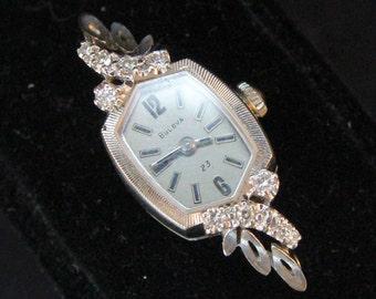 Estate 14K White Gold Diamonds Bulova Ladies Watch 8.22 Grams 120273 N3 No Band