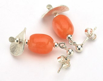 Orange Jade Earrings, Silver Earrings, Orange Earrings, Gemstone earrings, Jade drop earrings, Short earrings, Orange jade jewelry