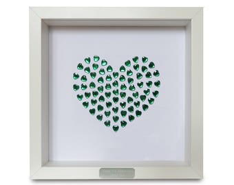 Framed Personalised Emerald Heart - 55th Anniversary Gift