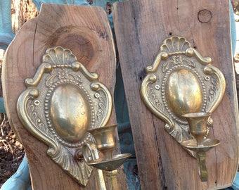Vintage Brass Sconces, Candle Sconces, Brass Lighting, Pair of Brass Wall Sconces, Brass Candelabra, Sconces on Barnwood, Farmhouse Decor