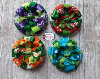 Ninja Turtle Hair Bows,Leonardo Ninja Turtle Hair Bow,Donatello Ninja Turtle Hair Bows,Raphael Ninja Turtle Hair Bows,Michaelangelo Hair Bow