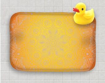 Bath Mat Orange Yellow Mandala Zen Bath Rug Home Decor