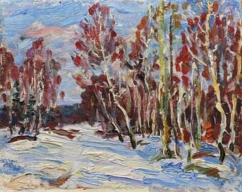 VINTAGE IMPRESSIONIST ART, Original Oil Painting by Soviet Ukrainian artist M.Borymchuk, 1970s, Birches, Woodland scenery, Winter Landscape