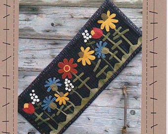 Summer Wild Flowers Wool Applique Table Runner by Wooden Spool Designs
