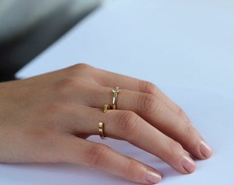 open GOLD ring - geometric ring- Tiny gold ring  - open ring - open bar ring - Simple gold ring - Minimal jewelry - essential ring