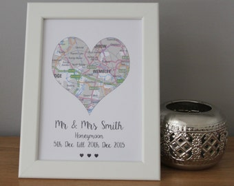 Personalised Love Heart Map Honeymoon Wedding Gift Couples Memory Keepsake Trip