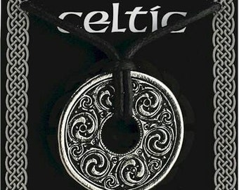 Celtic Disc and Spiral Pendant