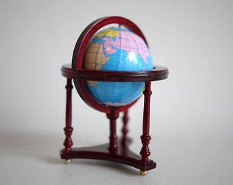 Dollhouse Globe and Wood 1:12 Dollhouse Miniature Furniture Earth Toys