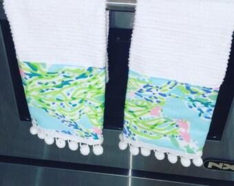 Lilly Pulitzer Blue Heaven Fabric Pompom Towel Set