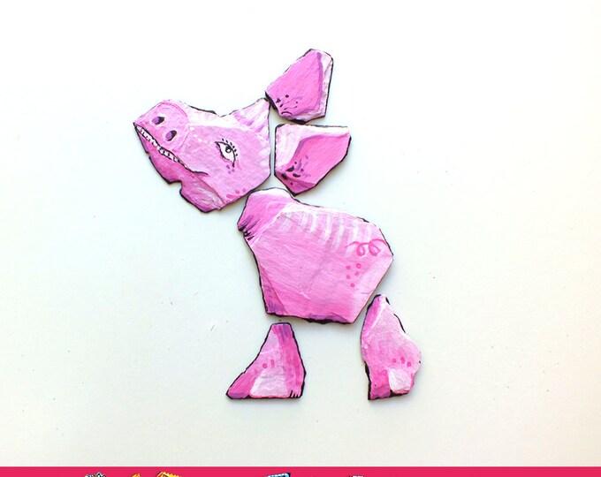 Pink pig - multiple Magnets of artist