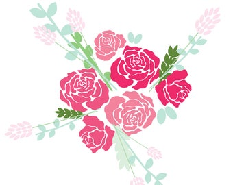 Flower SVG - Floral SVG - Rose SVG - Flowers svg - Roses svg - Flower Bouquet svg - Girlie svg - Pink Rose svg - Leaves svg - Flower Decor