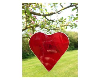 Stained Glass Red Heart Suncatcher Decoration