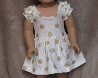 Cream Ruffled Dress with Gold Sparkly Polka-Dots - Handmade to fit like American Girl Doll Clothes, 18 inch doll clothes