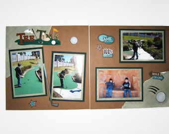 Golf Scrapbook Pages - Premade Golf Scrapbook Layouts - Father's Day Scrapbook Pages - Grandpa scrapbook layouts - Dad Scrapbook Pages