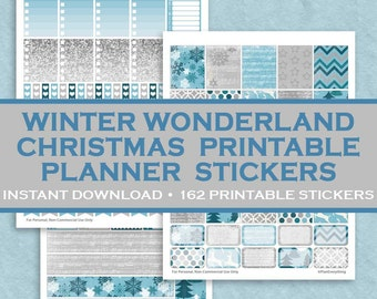 Winter Wonderland Christmas Printable Planner Stickers - 162 Printable Stickers - Blue & Silver - Instant Downloadable Letter Size PDF