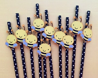 Bumble bee paper straws • Birthday party • Baby shower • Springtime • Easter • Picnic