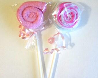 New washcloth baby shower pink gift favor lollipop girls