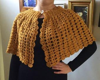 Crochet Vintage Style Cape, Crochet Capelet, Women's Accessories, Crochet Shawl, Crochet Cape